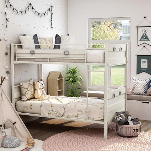 Furniture of America Beri Industrial White Twin/Twin Metal Bunk Bed