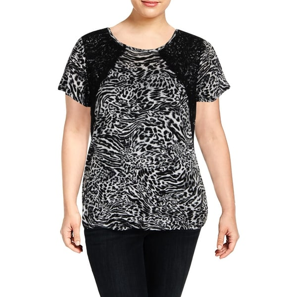 b603e2d8d08 Shop MICHAEL Michael Kors Womens T-Shirt Lace Inset Printed - XL - On Sale  - Free Shipping On Orders Over $45 - Overstock - 27384539