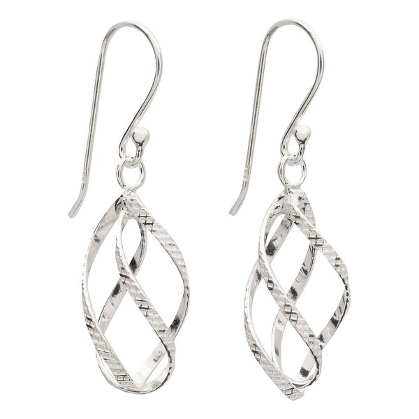 "Women's Elegant Helix Sterling Silver Earrings - Hang 1"" - French Hook Wires"