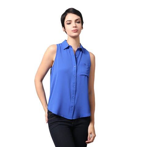 NE PEOPLE Women's Lightweight Sleeveless Woven Button Down Blouse Shirt