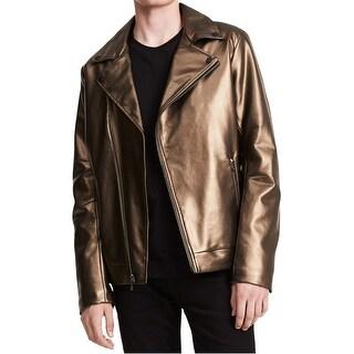 Calvin Klein Gunmetal Gold Men XL Pleather Asymmetric Moto Jacket