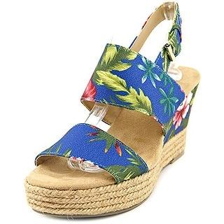 White Mountain Bar Harbor Women Open Toe Canvas Blue Wedge Sandal US