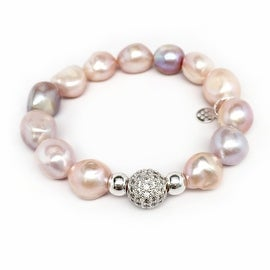 Pink Baroque Pearl 'Radiance' stretch bracelet 14k Over Sterling Silver