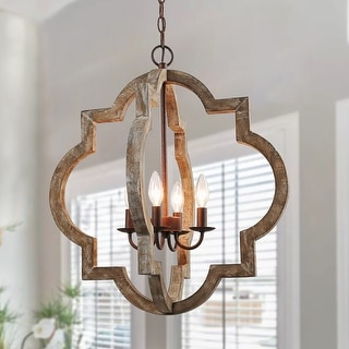 """Link to 4-lights Chic Wood  Pendant Lighting Farmhouse Lantern Chandelier - W21.7"""" x H24.2"""" Similar Items in Chandeliers"""