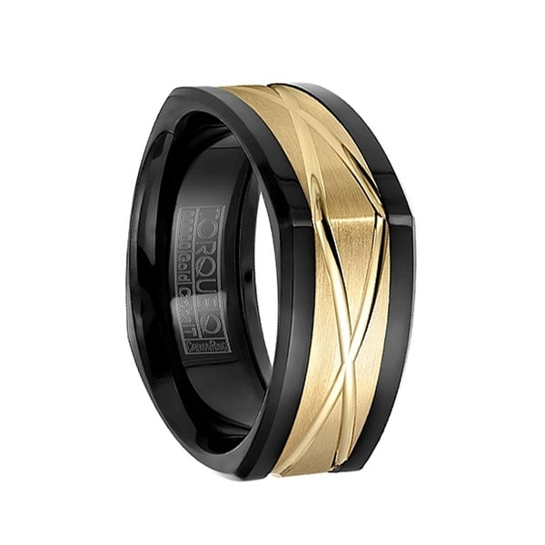 Soft Squared Polished Black Cobalt Wedding Band with Grooved 14k Yellow Gold Inlay by Crown Ring - 9mm