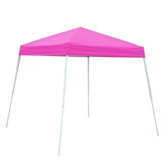 Gymax Wedding Party Canopy Shelter 8'X 8'Tent Gazebo Carry Bag Pink
