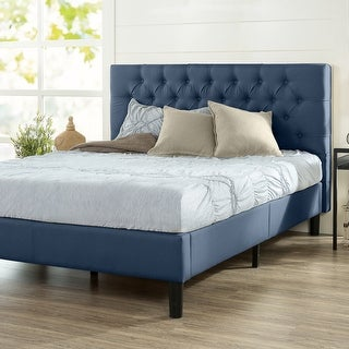 Link to Priage by ZINUS Upholstered Button-tufted Platform Bed Frame Similar Items in Bedroom Furniture