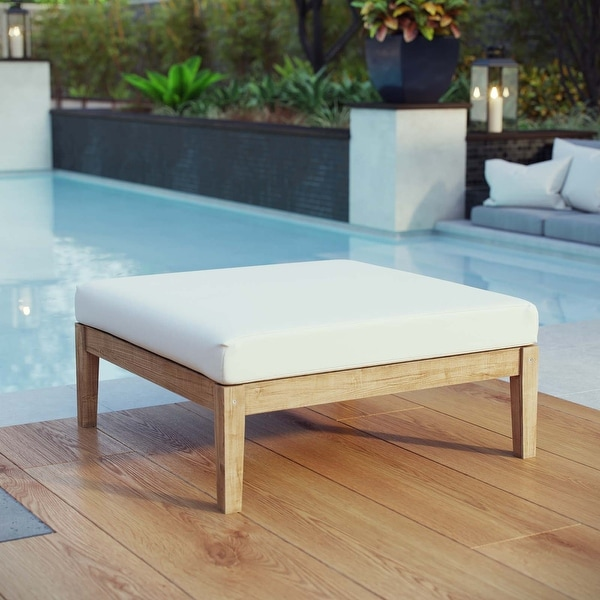 Bayport Outdoor Patio Teak Ottoman. Opens flyout.