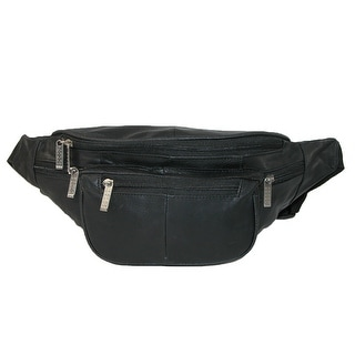 Leather Impressions Leather Extra Large Waist Pack with Nylon Strap - Black