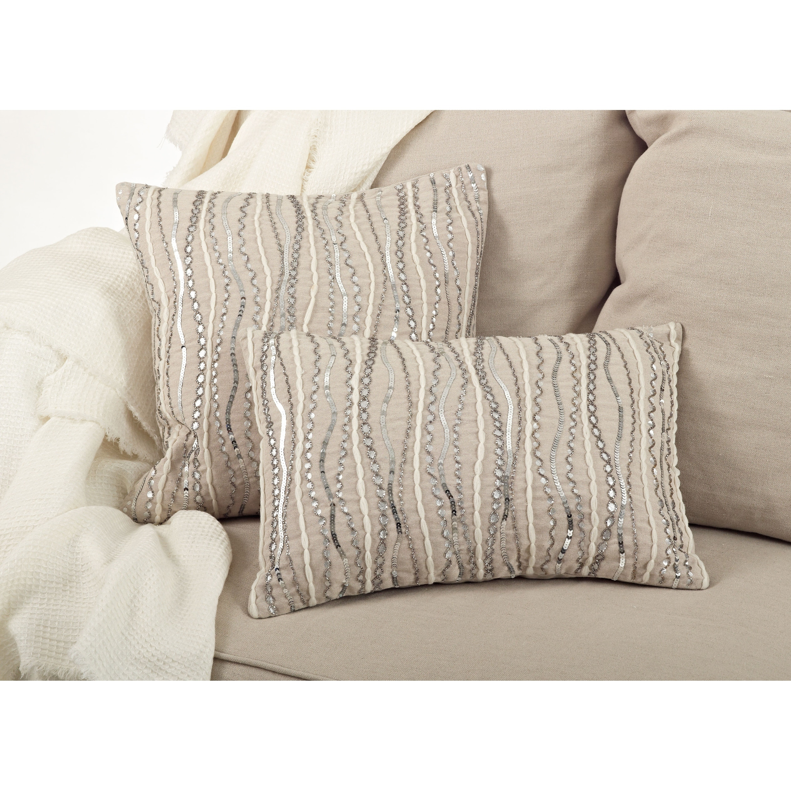 Cotton Pillow Cover With Beaded Design Overstock 31912101