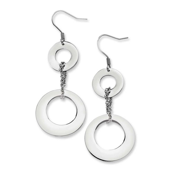 Chisel Stainless Steel Polished Circles Dangle Earrings