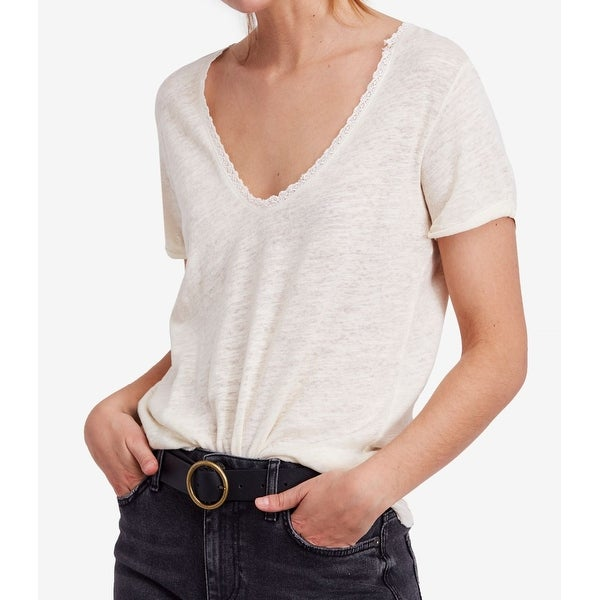 4752e75d16347b Shop Free People White Womens Size Medium M V-Neck Lace Inset T-Shirt Top - Free  Shipping On Orders Over $45 - Overstock - 28097185