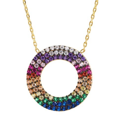 """Open Circle Rainbow Cubic Zirconia Pendant in Gold-Plated Sterling Silver, 16"""" + 2"""" - Multi-Color"""