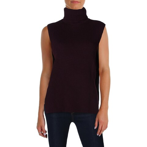 McQ Womens Turtleneck Sweater Split Hem Sleeveless - M