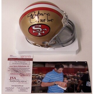 Steve Young Autographed Hand San Francisco 49ers Throwback Mini Helmet JSA