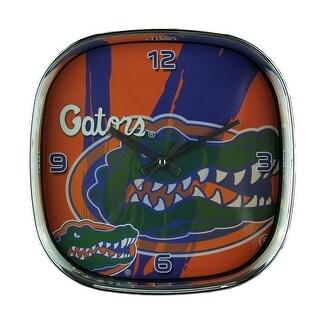 University of Florida Gators Glass Face Wall Clock Chrome Finished Frame - Orange