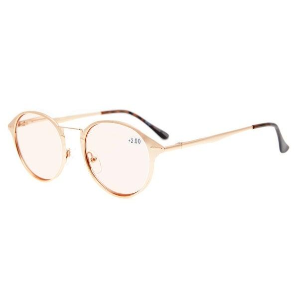 Eyekepper Spring Hinges Retro Round Amber Tinted Lenses Computer Eyeglasses Gold+3.0