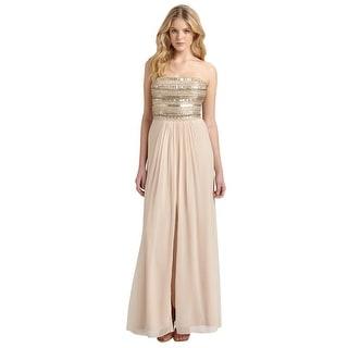 Aidan Mattox Strapless Beaded Chiffon Evening Gown Dress - 10