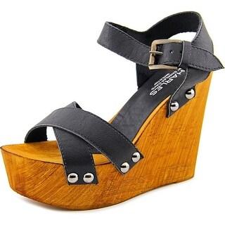 Charles By Charles David Munich Women Open Toe Leather Black Wedge Sandal