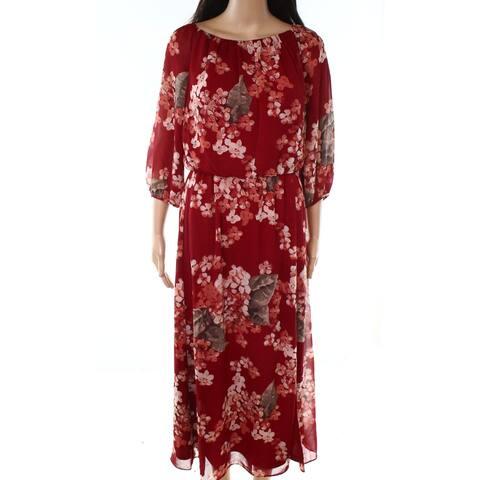 Lauren by Ralph Lauren Women's Dress Red Size 14 Maxi Floral Print
