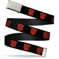 Blank Chrome  Buckle Autobot Logo Repeat Black Red Webbing Web Belt - S