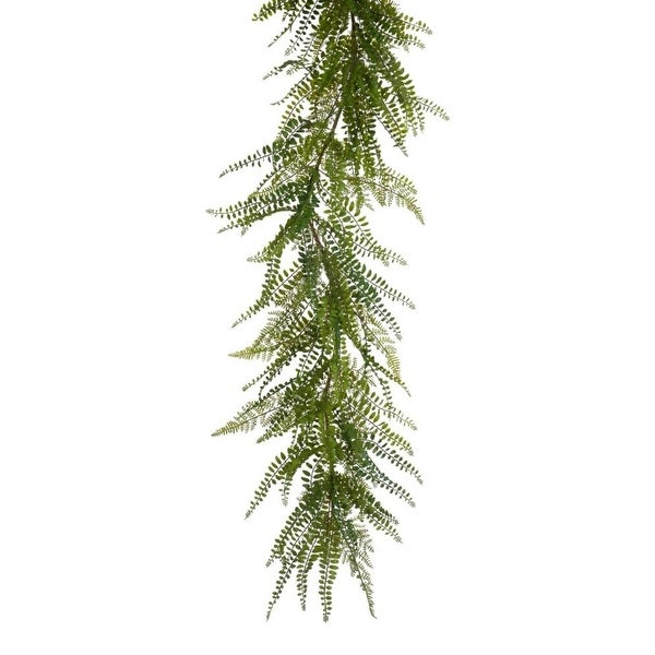 "Set of 2 Artificial Wispy Green Springtime Fern Garland 72"""
