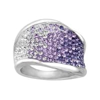 Crystaluxe Ring with Purple-Lavender-White Fade Swarovski Crystals in Sterling Silver - Purple