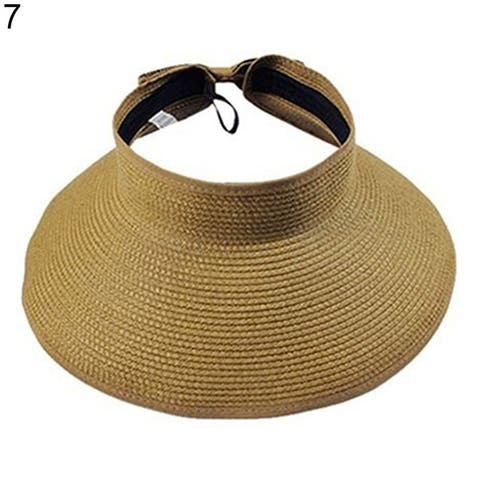 Women's Summer Wide Brim Roll Up Foldable Sun Beach Straw Braid Visor Sun Hat