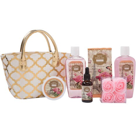 Draizee Spa Gift Bag For Woman W/ British Rose Fragrance Luxury Skin Care Set - Shower Gel, Bubble Bath, Body Butter,