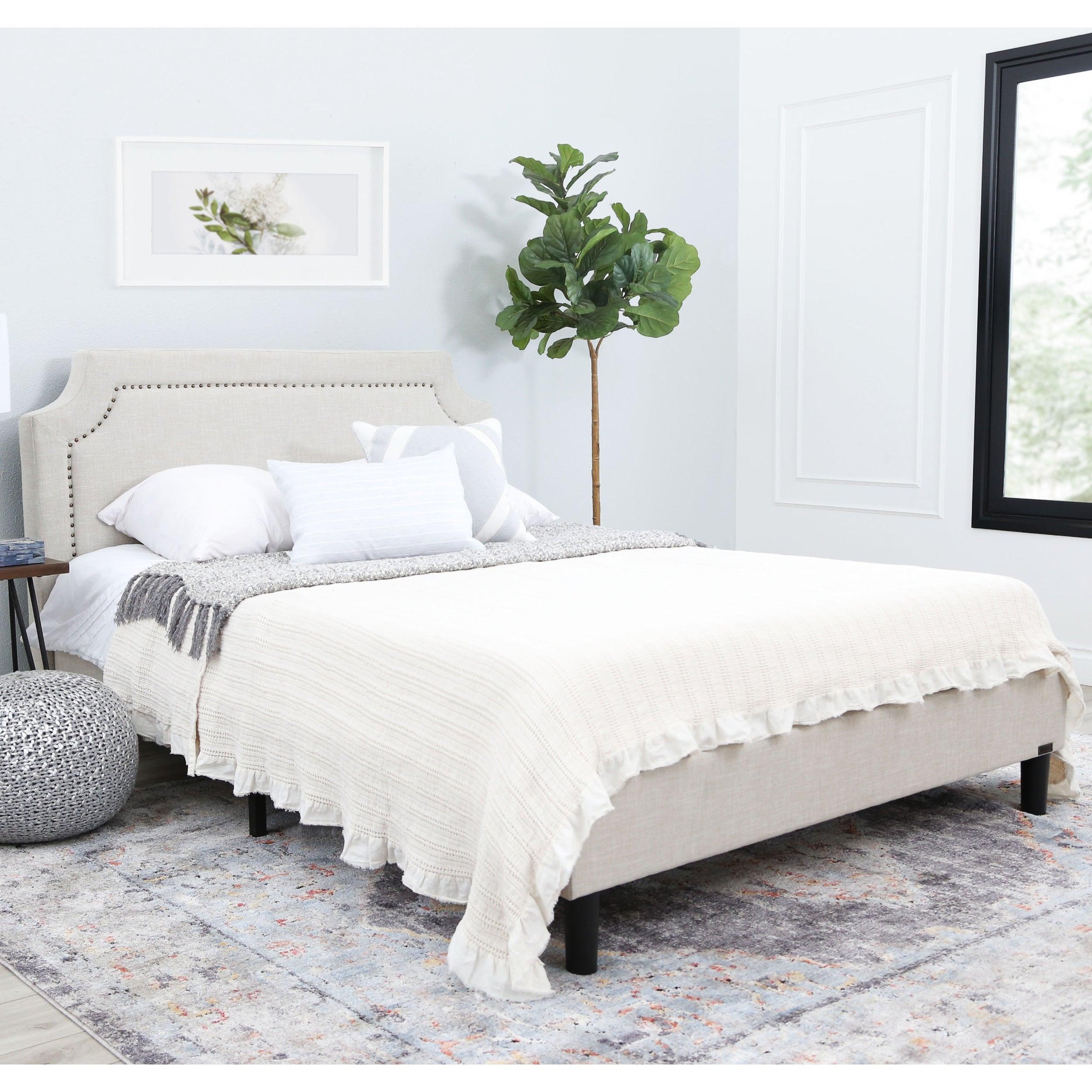 Abbyson Allegro Cream Upholstered Queen Platform Bed