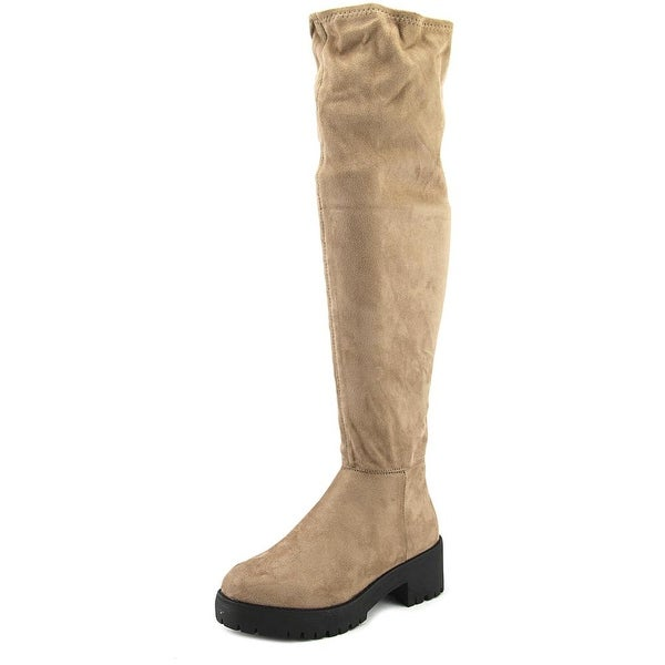Coolway Bombi Women Round Toe Canvas Brown Over the Knee Boot