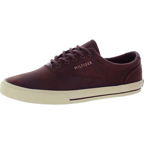 Tommy Hilfiger Mens Phelipo 7 Fashion Sneakers Faux Leather Athleisure - Medium Natural Fabric