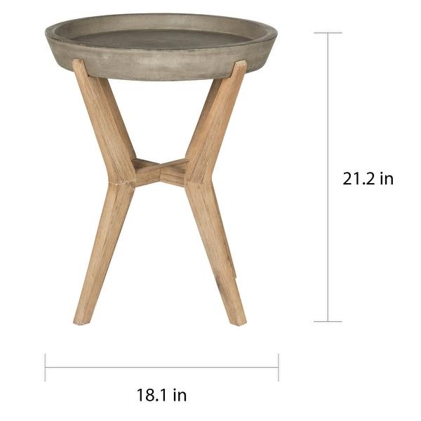 "SAFAVIEH Celeste Indoor/ Outdoor End Table (Dark Grey) - 18.1"" x 18.1"" x 21.2"""