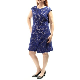 VINCE CAMUTO $168 Womens New 1063 Blue Zippered Lace Sheath Dress 14 B+B