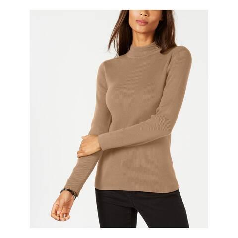 KAREN SCOTT Womens Brown Textured Solid Long Sleeve Mock Top Size PL