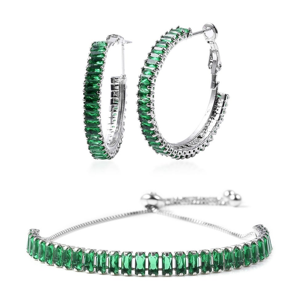 Shop LC Cubic Zirconia Hoop Earrings Bolo Bangle Bracelet