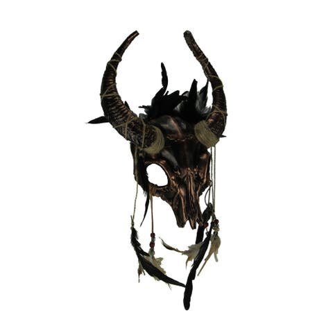 Metallic Tribal Skull Horned Demon with Feathers Adult Halloween Mask