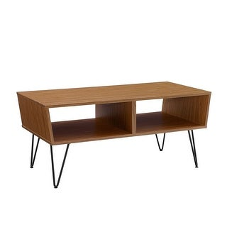 """Offex 42"""" Angled Coffee Table with Hairpin Legs - Acorn"""