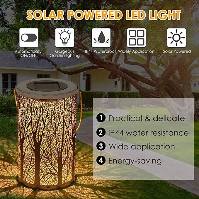 Solar Power LED Lantern Outdoor Garden Hanging Lamp Lawn Landscape Light