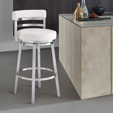 """Armen Living Madrid Contemporary 26"""" Counter Height Barstool in Brushed Stainless Steel Finish and White Faux Leather"""