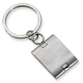 Chisel Brushed and Polished Stainless Steel Key Ring