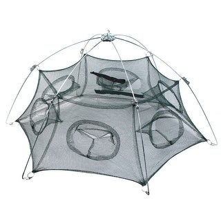 "Unique Bargains 31.2"" x 22"" Umbrella Crab Bait Cast Lures Dip Fishing Net for Fishermen Shrimp Green Silver Tone"