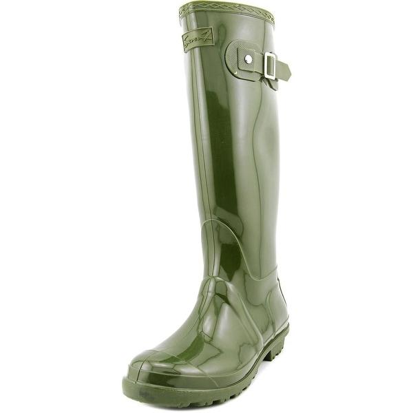 Seven7 British Girl Women Round Toe Synthetic Green Rain Boot
