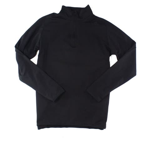 Adidas Mens Black Size Small S 1/2 Zip Mock-Neck Pullover Sweater