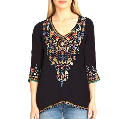 Private Garden Embroidered Tunic Tops In Vivid Colors
