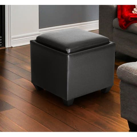 Square Storage Ottoman With Tray, Small Cube Footstool