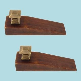 2 Mission Wedges Walnut Finished Wood Antique Brass Set of 2