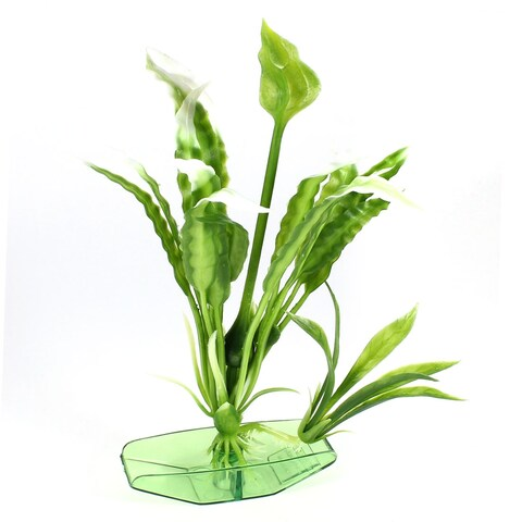 Unique Bargains Plastic Base Fishbowl Artificial Green White Underwater Grass Plant 6.7 High