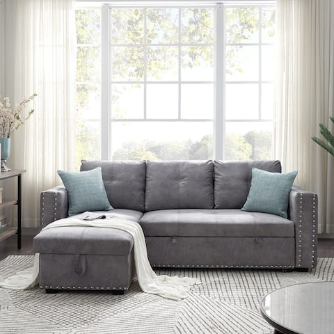 """91"""" Reversible Sleeper Sectional Sofa with storage"""