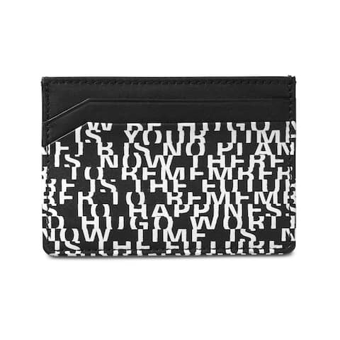 Hugo Boss Mens Printed Leather Coin Card Case Wallet, Black, One Size - One Size
